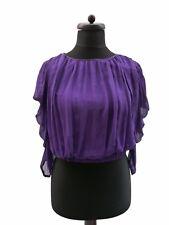 TRAFFIC PEOPLE Pure Silk Purple Ruffle Sleeves Top Blouse XS 8 10