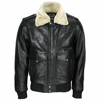 New Mens Real Leather US Air Pilot Bomber Jacket Removable Fur Collar Black
