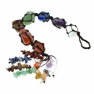 Handmade 7 Chakra Tumbled Stones Crystal Tassel Healing chakra Hanging Ornament