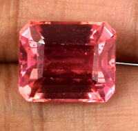 Padparadscha Orange Sapphire 12.40 Ct Gems Natural Emerald Cut Certified G1145