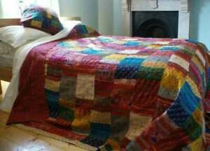 Indian Handmade Kantha Quilt King Size Patchwork Bedspread Vintage Blanket Throw