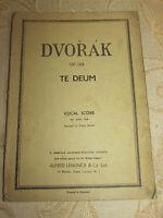 Antique Original Sheet Music Of Antonin Dvorak Op.103 Te Deum - 1929