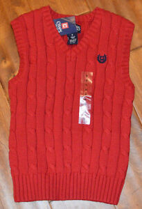 Boy's Chaps Red Sleeveless V-Neck Sweater Vest Sizes 4, 5, 6, 7