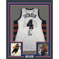FRAMED Autographed/Signed ALLEN IVERSON 33x42 United States White Jersey JSA COA