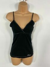 WOMENS GUESS JEANS BLACK SPAGHETTI STRAPS SUMMER CROSS FRONT VEST TOP SIZE SMALL