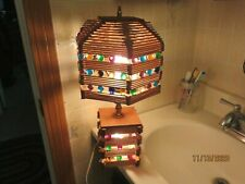 Vintage Folk Art Popsicle Stick Table Lamp and Shade Home Made Art