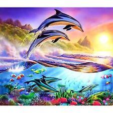 Full Drill 5D DIY Diamond Mosaic Active Dolphins Cross-Stitch Kits Home Decor