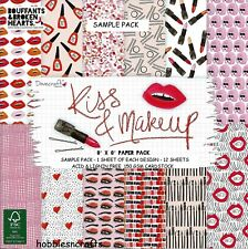 DOVECRAFT KISS & MAKEUP PAPERS - 8 X 8 SAMPLE PACK - 12 SHEETS-  POSTAGE DEAL
