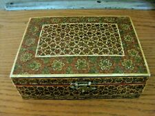 Anglo-Indian Sadali Micro Mosaic Bone Inlay Hinge & Clasp Jewelry Box Geometrics