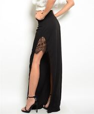 Misses Black Maxi Skirt with Side Slits and Lace Accents SZ Small NWT