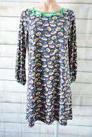 Leona Edmiston Smock Dress Tunic Size 2 Medium 10 12 Purple Pink Green Floral
