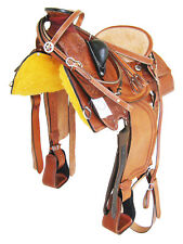"10107- ROPER WADE TREE RANCH SADDLE PACKAGE TOOLED LIGHT OIL 17"" BEIGE SEAT"