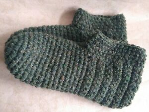 Crochet big men`s wool slippers /Eco-friendly green socks /Size USA 13-14, shoes