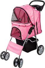 Pink Lightweight 4 Wheel Pet Stroller Travel Pushchair Dog Cat Puppy Buggy Pram