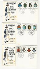 Gibraltar: Lot of 10 first day cover Royal Navy Crest some rust... GI29