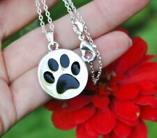 .925 Sterling Silver NECKLACE Round Black Paw Print Dog Cat Pet Lover Gift Charm