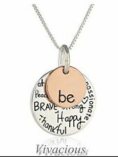 """Be"" Happy Brave Graffiti Inspirational Quote Engraved Charm Pendant Necklace"