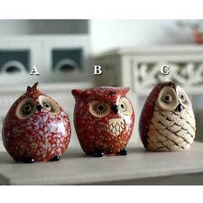 SetOf 3 Ceramic Owl Ornament Money Boxes Garden Animal Figurine Bird Gift sets