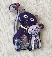 Vintage style artistic cat kitty   large brooch pin  enamel on metal