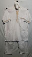 African Clothing Men 3Pcs Pant Suit Dashiki boho Soft Cotton White Free Size