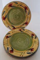"""FOUR Pier 1 Elizabeth Hand Painted Stoneware Salad Plates 8-1/4"""" Floral"""