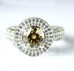3.78 Ct Champagne Diamond Solitaire Men's Wedding Ring  Unique Halo Design