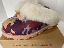 UGG AUSTRALIA COQUETTE CAMO PINK PURPLE Suede Sheepskin SLIPPERS SZ 7 ~WITH BOX