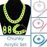Chunky Acrylic Plastic Necklace Earrings Punk Jewelry Set Link Chain Colors
