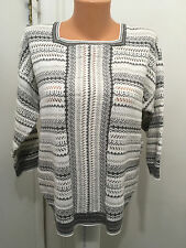Women's Alfred Dunner M Acrylic Cotton  3/4 Sleeves  Sweater  Metallic Geometric