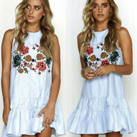 Women Floral Sleeveless Ruffles Short Mini A-Line Dress Evening Party Cocktail