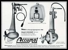 Grosse Werbung 1960 Accumot-Gerätebau  Elektro-Bootsmotoren Gmunden/Austria