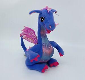 "Barbie Rapunzel 13"" Penelope Purple Talks Toy Dragon Plush Wing Move 2002 Mattel"
