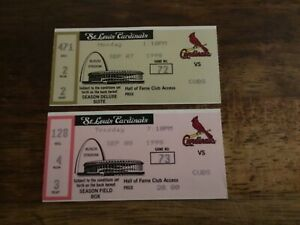 LOT OF 2 ST LOUIS CARDINALS TICKET STUBS 09-07,08-98 MCGWIRE 61&62 HOME RUN