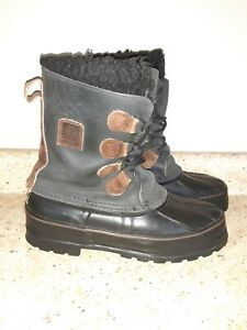LaCrosse Black/Brown Winter Snow Duck Boots w/Removable Liners Womens Size 9