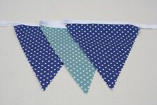 Blue Spot Mix Teal & Blue Cotton Fabric Single Side Bunting 10m/32ft long