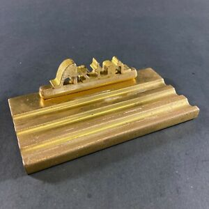 RARE VINTAGE SOLID BRASS ASTOR RADIO ADVERTISING PAPERWEIGHT PEN STAND ORNAMENT