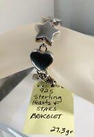 """Vintage 925 Sterling Silver Hearts & Stars Bracelet 7"""" 16mm 27.3gr"""
