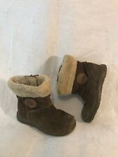Girls Clarks Brown Suede Boots Size 6F (870ww)