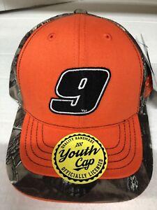 CHASE ELLIOTT # 9 NASCAR YOUTH CAMO ADJUSTABLE HAT ORANGE,CAMO