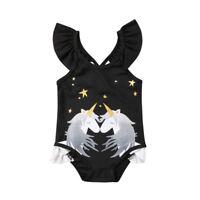 NWT Girls Black Unicorn Ruffle Swimsuit Bathing Suit 2T 3T 4T 5T 6