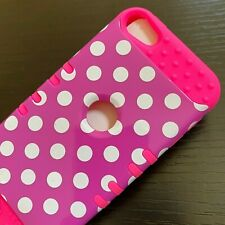 iPod Touch 5th 6th & 7th Gen - Hard Hybrid Armor Case Cover Hot Pink Polka Dots