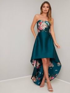 Chi Chi London Dip Hem Floral Bandeau Maxi Occasion Party Dress 14 16 Teal/Multi