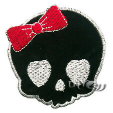 Girl Skull With Red Bow High Embroidered Iron on Patch  Character Monster
