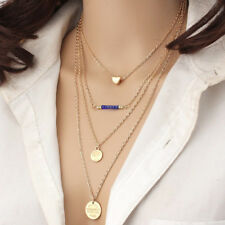 Charms Multilayer Necklace Gold 2 Coins Heart Chain Pendant Sweater Thin Long UK