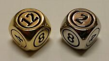 2x Command Zone Metal Dice 1 Silver AND 1 Gold Color for Commander Tax Magic MTG