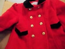 Girl's Coat Red Wool with Black Velvet and Gold Buttons Size 6/7/8