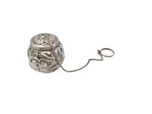 Stieff Rose Repousse Sterling Silver Tea Ball Infuser from 1926