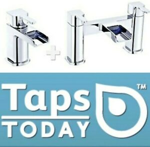 Slim Lever Waterfall Basin Tap with FREE Waste, & Hoses & Bath Filler Tap Set