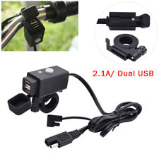 360° Motorcycle SAE to USB Cable Charger Adapter 2.1A Dual USB Port Power Socket