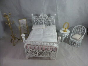 Vintage White Metal Dolls House Bedroom Furniture, Bed, Chair, Table, 2 Mirrors